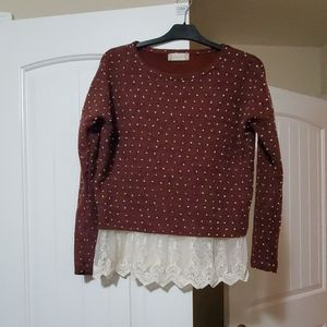 Altar'd State red lace sweater